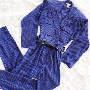 Vintage houndstooth jumpsuit royal blue